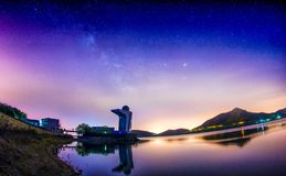 Milky way and Observatory. ,the light pullotion is very serious!Star against man made light royalty free stock images
