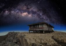 Milky Way, Old House, Cosmic Peace Stock Images
