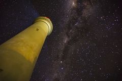 Milky Way over Aireys Inlet Lighthouse. At midnight astrology photography Stock Images