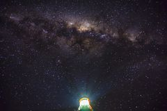 Milky Way over Aireys Inlet Lighthouse. At midnight astrology photography Stock Photography