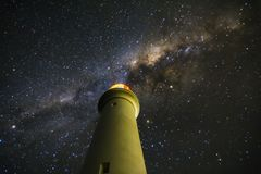 Milky Way over Aireys Inlet Lighthouse. At midnight astrology photography Stock Photo