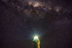 Milky Way over Aireys Inlet Lighthouse. At midnight astrology photography Royalty Free Stock Photos