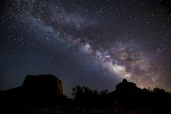 Milky Way Over Bell Rock and Courthouse Butte Stock Photo