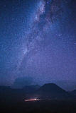 Milky way over the bromo mountain stock photos