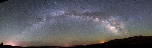 Milky way over bryce canyon national park. Panoramic view of the milky way over the bryce canyon national park from sagitarius to perseus Stock Images