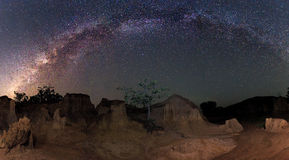 Milky way over the canyon Stock Images