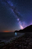 Milky Way over cape Emine, Bulgaria. Long time exposure night landscape with Milky Way Galaxy above the lighthouse at Cape Emine, Black sea coast, Bulgaria royalty free stock photos