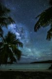 Milky Way over Caribbean bay Royalty Free Stock Image