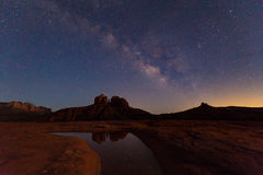 Milky Way over Cathedral Rock Royalty Free Stock Photo