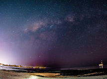 Milky way over city lights. Stars don`t shine without darkness Royalty Free Stock Photo