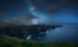 Milky way over Cliffs of Moher. Milky way over dramatic Cliffs of Moher and wild Atlantic Ocean, The Burren, Ireland Royalty Free Stock Image