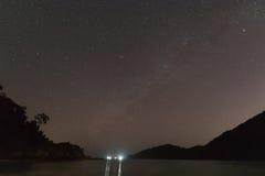 Milky way over the coast. At night stock photo