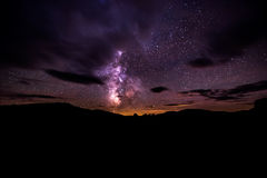Milky Way over Craters of The Moon National Preserve. Idaho Landscape Stock Images
