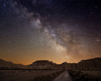 Milky Way over the desert Stock Photos