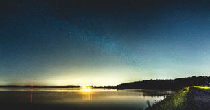 Milky way over Kozlowa Gora dam. Milky way photo taken in Swierklaniec, Poland. Stars are shining over Kozlowa Gora dam Royalty Free Stock Image