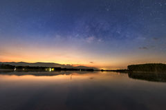 Milky way over the lake Stock Images