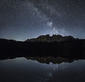 Milky Way over Latemar, Dolomiti Stock Photography