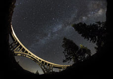 Milky way over light painted bridge. In Donner, CA Royalty Free Stock Photo