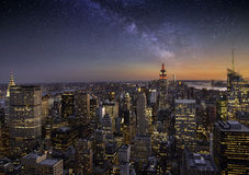 Milky way over Manhattan Royalty Free Stock Images