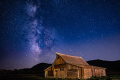 Milky Way Over Morman Row. Milky way above T. A. Moulton's barn along Morman Row in Grand Teton National Park royalty free stock images