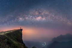 Milky way over the mountains of Chiang Rai, Thailand royalty free stock photos