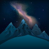 Milky Way over the mountains at night stars vector. Royalty Free Stock Images