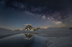 Milky way over the mountains Royalty Free Stock Photo