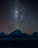 Milky way over Mt. Moran. Jackson lake, Grand Teton National Park Stock Photos
