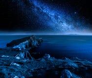 Milky way over Neist point lighthouse, Isle of Skye, Scotland. Europe Royalty Free Stock Photography