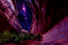Milky Way over the Neon Canyon Royalty Free Stock Photography