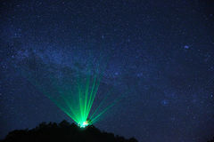 Milky Way over the Observatory. With laser Royalty Free Stock Image