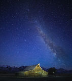 Milky Way over  Old Mormon Barn, Grand Tetons Royalty Free Stock Photos