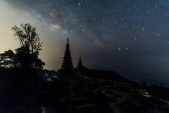 Milky way over Phramahathat Napamathanidol and Phramahathat Napaphol Bhumisiri Pagoda Royalty Free Stock Photos