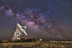 Milky Way over Radio Telescope Stock Image