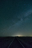The Milky Way over Railroad Tracks. The Milky Way can be seen in the early morning hours in Texas in the middle of spring stock photo
