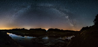 Milky Way over the River Miño stock photo