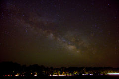 Milky way over road Stock Images