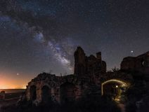 Milky Way over the ruins stock photography
