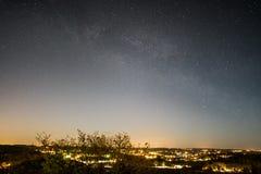 The Milky Way over Sandefjord. The Milky Way seen from Gjekstadåsen in Sandefjord, Norway Royalty Free Stock Image