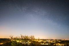 The Milky Way over Sandefjord. The Milky Way seen from Gjekstadåsen in Sandefjord, Norway Stock Images
