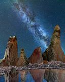 The Milky Way over sandstone peaks. Royalty Free Stock Photo
