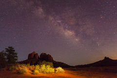 Milky Way over Scenic Cathedral Rock Stock Image