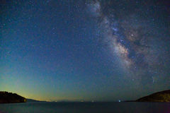 Milky way over the sea in kargi beach near Datca Stock Images