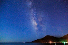 Milky way over the sea in kargi beach near Datca Stock Image