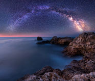 Milky Way over the sea. Long time exposure night landscape with Milky Way Galaxy above the Black sea Stock Photography