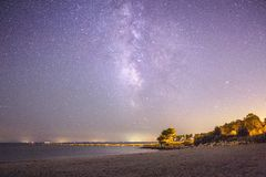 Milky Way over The Sound. Milky Way over Long Island sound , beach astrophotography, ocean Stock Photos