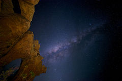 Milky Way over Stone Cathedral, Vale do Catimbau, Buíque, Pernambuco, Brazil Royalty Free Stock Images