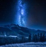 Milky way over Tatra Mountains at night in Zakopane, Poland stock image