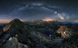 Milky way over Tatras mountain panorama, Poland.  royalty free stock image