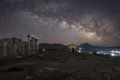 Milky way over Temple of Demeter Naxos Stock Photos